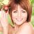 donna · mela · ramoscello · farfalle · foto · faccia - foto d'archivio © dolgachov