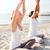 sorridere · Coppia · yoga · esterna · fitness - foto d'archivio © dolgachov