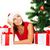 mosolygó · nő · mikulás · segítő · kalap · ajándékdobozok · karácsony - stock fotó © dolgachov