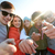 gelukkig · vrienden · wijzend · vingers · straat - stockfoto © dolgachov