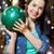 genç · kadın · noel · top · Noel · şapka · kız - stok fotoğraf © dolgachov