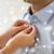 nő · gombok · felfelé · póló · kék · háttér - stock fotó © dolgachov