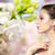 bela · mulher · cara · brinco · beleza · jóias - foto stock © dolgachov