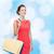 mosolygó · nő · bevásárlótáskák · műanyag · kártya · vásárlás · vásár - stock fotó © dolgachov