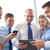 üzleti · csapat · okostelefonok · táblagép · üzletemberek · technológia · média - stock fotó © dolgachov
