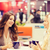 sorridente · mulheres · xícara · de · café · shopping · café · bebidas - foto stock © dolgachov