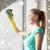kobieta · czyszczenia · okno · szmata · szczęśliwy · młoda · kobieta - zdjęcia stock © dolgachov