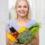 mosolyog · fiatal · nő · zöldségek · otthon · egészséges · étkezés · vegetáriánus · étel - stock fotó © dolgachov