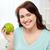 schöne · Frau · Essen · grünen · Apfel · Gewichtsverlust · lächelnd - stock foto © dolgachov