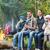 gelukkig · gezin · vergadering · bank · kamp · brand · camping - stockfoto © dolgachov