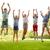 子供 · ジャンプ · 高い · アップ · 子 · トランポリン - ストックフォト © dolgachov