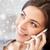 glimlachende · vrouw · roepen · smartphone · christmas · mensen · technologie - stockfoto © dolgachov