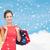 jovem · mulher · bonita · vestido · vermelho · blue · sky · nuvens · natureza - foto stock © dolgachov