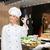 glimlachend · vrouwelijke · chef · tonen · handteken - stockfoto © dolgachov