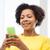 счастливым · африканских · женщину · смартфон · домой · люди - Сток-фото © dolgachov