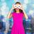 gelukkig · vrouw · tienermeisje · naar · donuts · mensen - stockfoto © dolgachov