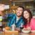 nő · okostelefon · elvesz · étterem · technológia · emberek - stock fotó © dolgachov