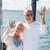 pareja · de · ancianos · vela · barco · yate · mar - foto stock © dolgachov