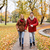 happy young couple running in autumn park stock photo © dolgachov