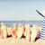 chapéu · de · palha · conchas · areia · praia · azul · água - foto stock © dolgachov