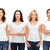 group of smiling women in blank white t shirts stock photo © dolgachov