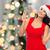 beautiful woman in santa hat with champagne glass stock photo © dolgachov