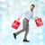 mosolyog · férfi · piros · bevásárlószatyor · kék · fények - stock fotó © dolgachov