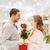 férfi · nő · vörös · rózsák · ajándék · bevásárlóközpont · kapcsolatok - stock fotó © dolgachov