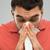 férfi · orrot · fúj · fertőzött · hideg · influenza · papírzsebkendő - stock fotó © dolgachov