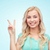 glimlachend · jonge · vrouw · tienermeisje · tonen · vrede · positief - stockfoto © dolgachov