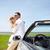 gelukkig · paar · kabriolet · auto · zee - stockfoto © dolgachov