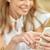 glimlachend · jonge · vrouw · luisteren · naar · muziek · witte · muziek - stockfoto © dolgachov