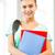 öğrenci · kız · klasörler · okul · çanta · eğitim - stok fotoğraf © dolgachov
