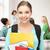 öğrenci · kız · okul · çanta · mutlu - stok fotoğraf © dolgachov