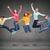grupo · sorridente · adolescentes · saltando · ar · felicidade - foto stock © dolgachov