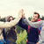 feliz · amigos · senderismo · viaje · turismo · personas - foto stock © dolgachov