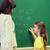 student · schoolbord · gelukkig · elementair · schoolmeisje - stockfoto © dolgachov