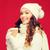 fiatal · nő · piros · kalap · iszik · kávé · kávézó - stock fotó © dolgachov