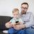 père · en · fils · distant · regarder · tv · maison · famille - photo stock © dolgachov