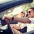 feliz · homem · mulher · condução · cabriolé · carro - foto stock © dolgachov