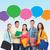 groep · glimlachend · tieners · tekst · bubbels · vriendschap - stockfoto © dolgachov