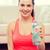 幸せ · 女性 · 水筒 · 行使 · ホーム · フィットネス - ストックフォト © dolgachov