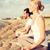 gülen · çift · yoga · açık · havada · uygunluk - stok fotoğraf © dolgachov