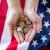 mulher · bandeira · americana · mão · dia - foto stock © dolgachov