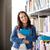 middelbare · school · bibliotheek · student · vrouw · lezen · boek - stockfoto © dolgachov
