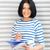 szczęśliwy · kobieta · duży · notatnika · zdjęcie · działalności - zdjęcia stock © dolgachov