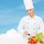 mosolyog · női · szakács · tapsolás · főzés · étel - stock fotó © dolgachov