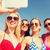 group of smiling women making selfie on beach stock photo © dolgachov