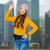 tienermeisje · vinger · omhoog · foto · aantrekkelijk · vrouw - stockfoto © dolgachov