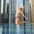 boldog · fiatal · nő · ugrik · Dubai · város · medence - stock fotó © dolgachov